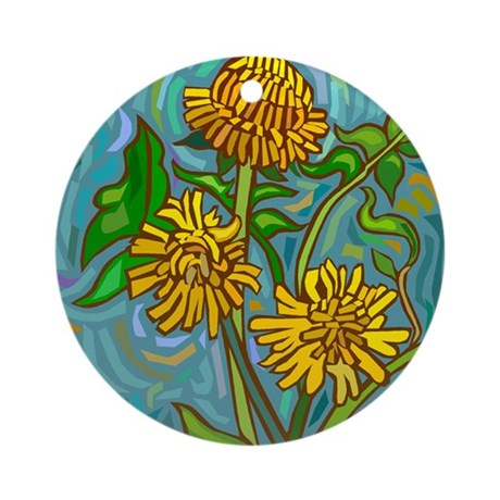 yellow_flowers103_ornament_round